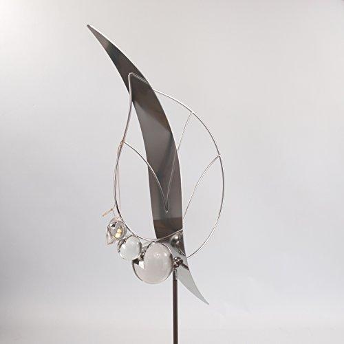 Formano Gartenstecker mit Edelstahl und massiven Glas-Kugeln Blatt XL 148 cm