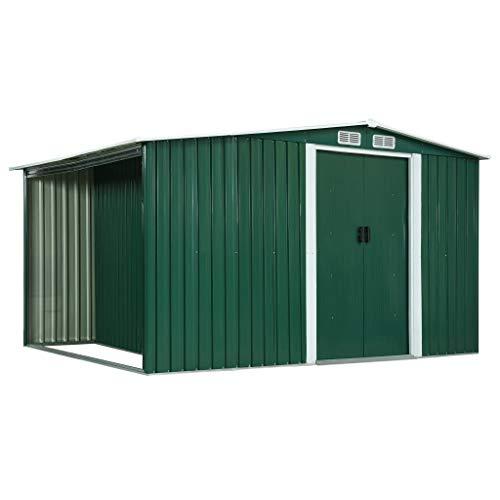 FAMIROSA Gerätehaus mit Schiebetüren Grün 329,5×131×178 cm Stahl