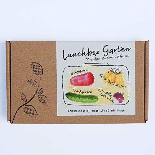 LUNCHBOX GARTEN Gemüsesamen-Geschenkbox - 4 Sorten Snackgemüse