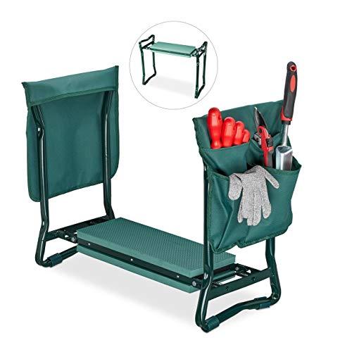 Relaxdays, grün Kniebank, weiches Kniekissen, 2 Taschen, klappbar, Kniehilfe Gartenarbeit, bis 150...