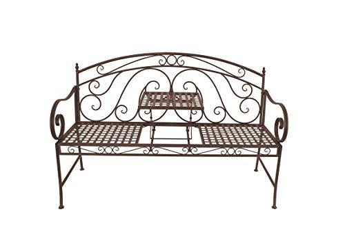 Garden Pleasure Gartenbank Bank mit hochklappbarem Tisch, Braun