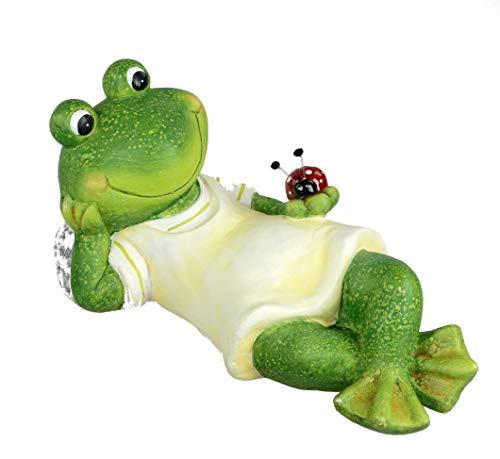 Formano Gartenfigur Frosch Relax liegend 44 cm Magnesia Dekofigur für den Garten Balkon oder...