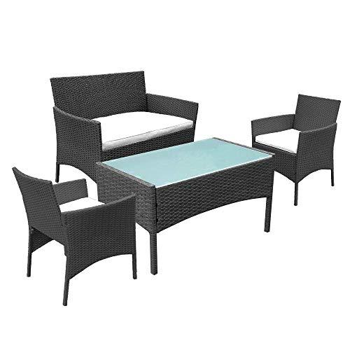 Hengda Gartenmöbel Set Poly Rattan Sitzgruppe Lounge Set Langlebig Lounge Set für 4 Personen - Mit...