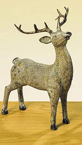 KUHEIGA Dekofigur Hirsch - Hellbraun Höhe 21cm Figur Gartenfigur aus Kunstharz