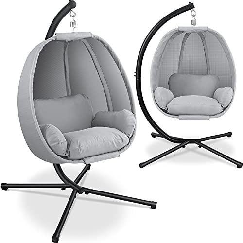 KESSER® Luxe Hängesessel mit Gestell + weicher Sitzkissen, Seitenpolsterung, Sitz- und...