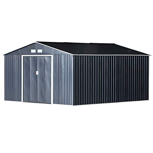 Outsunny Gerätehaus 24,5 m³ Geräteschuppen Gartenhaus mit Fundament Schiebetür Stahl 340 x 382 x...