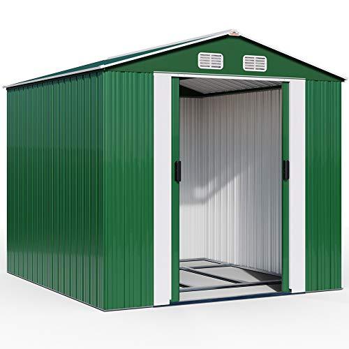 Deuba XXXL Metall Gerätehaus 8m² mit Fundament 312x257x177,5cm Schiebetür Grün Geräteschuppen...