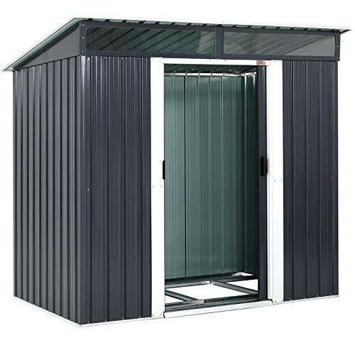 Gardebruk L Metall Gerätehaus 3,4m³ mit Fundament 196x122x180cm 2 Fenster Anthrazit...