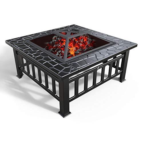 VOUNOT Feuerstelle mit Grillrost, 3 in 1 Feuerschale mit Funkenschutz, Feuerkorb Firepit für BBQ,...