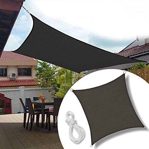 Froadp 5x5m Sonnensegel Quadrat Reißfestigkeit Windschutz Durchlässig Sonnenschutz mit Seil für...
