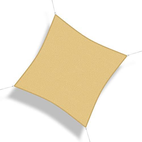 Corasol 160239 Premium Sonnensegel, 6 x 6 m, Quadrat, Wind- & wasserdurchlässig, sandbeige