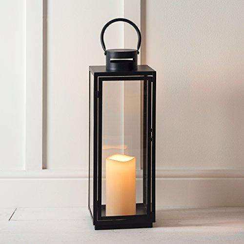 Dunkelgraue Metall Laterne mit LED Kerze batteriebetrieben Timer 65cm Lights4fun