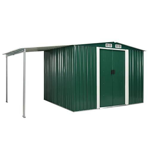 FAMIROSA Gerätehaus mit Schiebetüren Grün 386×205×178 cm Stahl