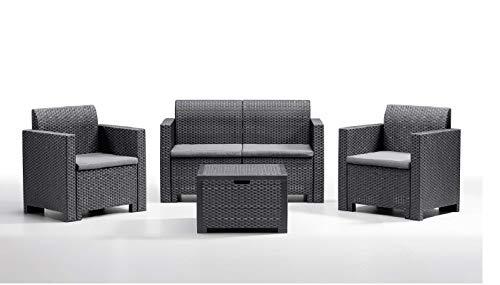 BICA Gartenmöbel Set Nebraska 2, Lounge 4 Plätze, Graphit, Rattan Design