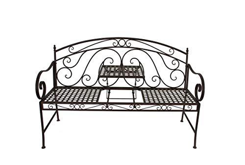 Garden Pleasure Gartenbank Bank SAKET mit hochklappbarem Tisch, Schwarz