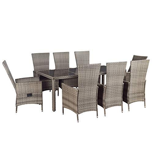 ArtLife Polyrattan Sitzgruppe Rimini Plus 9-teilig grau-meliert | Gartenmöbel Set mit Tisch, 8...