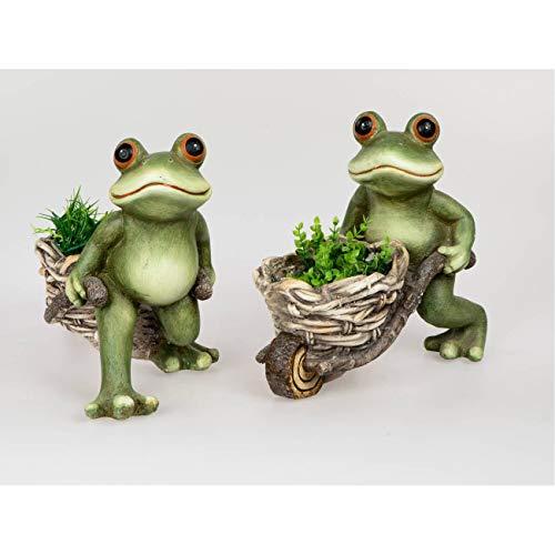 Formano Dekoobjekt Gartenfigur Frosch mit Schubkarre in 2 Ausführungen 32 cm hoch