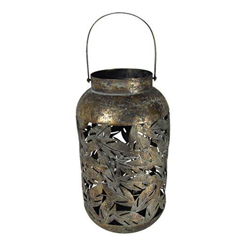 Lesli Living Laterne Windlicht Bodenlicht Metall Motiv: Blatt ø22,5x40cm