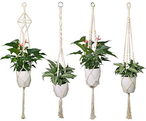 Luxbon 4er Set Makramee Blumenampel Baumwollseil Hängeampel Blumentopf Pflanzen Halter Aufhänger...