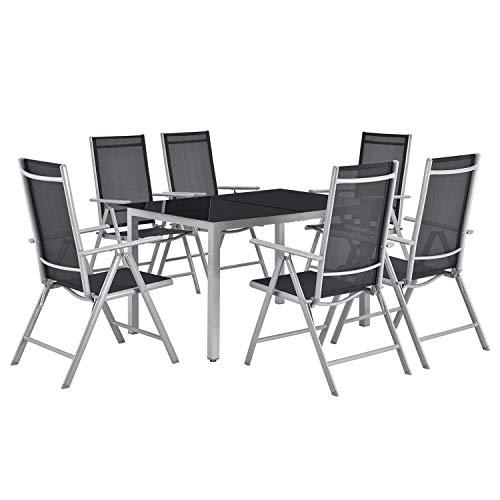 ArtLife Aluminium Gartengarnitur Milano 7-teilig - Gartenstühle 6er Set mit Tisch – Stühle...