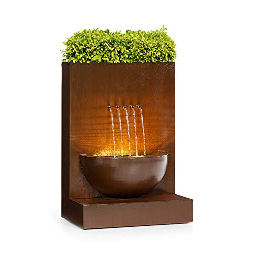 blumfeldt Windflower Gartenbrunnen, Leistung: 11 Watt, inklusive Pflanzschale, für drinnen und...