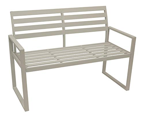 DEGAMO Design Gartenbank Atlanta 2-sitzer aus Aluminium wetterfest und rostfrei, weiß