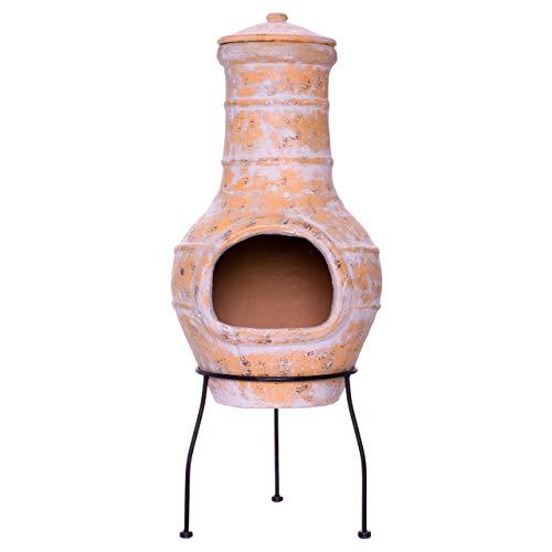 Nexos Terrassenofen Gartenkamin Terracotta 85 cm Gartenofen Stahlgestell Feueröffnung20x15 cm...