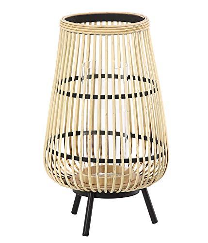 Dehner Bambus-Laterne Alicia, Ø 29 cm, Höhe 46.5 cm, Bambus/Glas/Metall, beige/schwarz