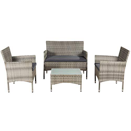 ArtLife Polyrattan Gartenmöbel-Set Fort Myers grau-meliert – Sitzgruppe mit Tisch, Sofa & 2...