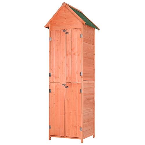 Outsunny Gartenhaus, Gerätehaus, Geräteschuppen mit Fachböden, 4 Türen, Asphaltdach, Massivholz...