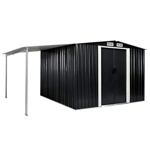 vidaXL Gerätehaus mit Schiebetüren verlängertem Dach Geräteschuppen Garten Schuppen Gartenhaus...