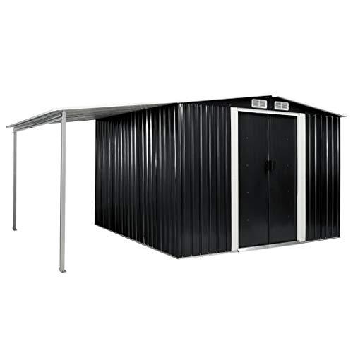 FAMIROSA Gerätehaus mit Schiebetüren Anthrazit 386×259×178 cm Stahl