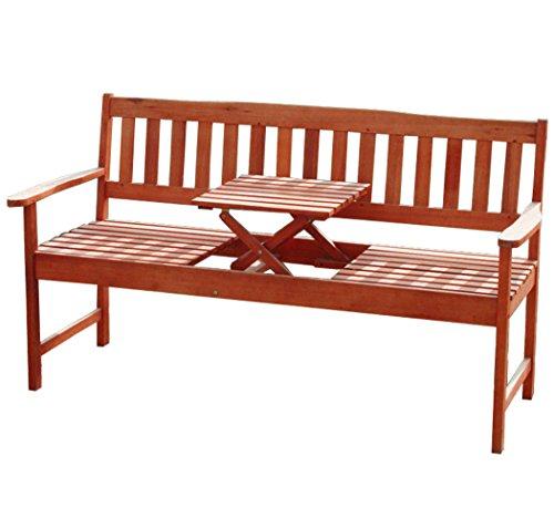 KMH®, 3-sitzer Gartenbank (160 cm) aus Eukalyptusholz mit integriertem, einklappbarem Tisch...