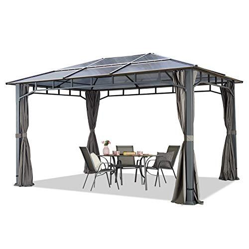 TOOLPORT Gartenpavillon 3x4m wasserdicht ALU Deluxe Polycarbonat Dach ca. 8mm Pavillon 4 Seitenteile...