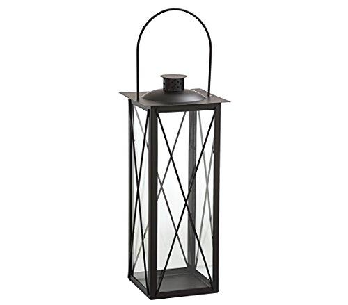 Dehner Laterne Sagres,ca. 17.5 x 17.5 x 50 cm, Metall/Glas, schwarz