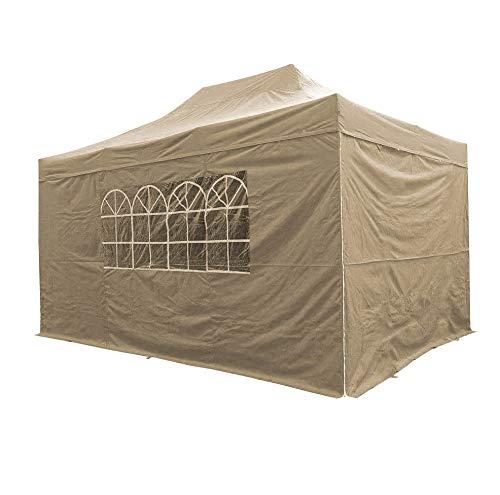 AIRWAVE Pavillon Essential, Pop-Up-Unterstand mit Seiten, wasserdicht, 3 x 4,5 m, Beige