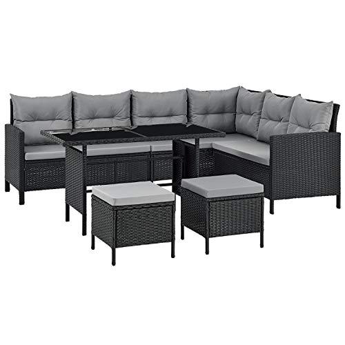 ArtLife Polyrattan Lounge Manacor | Gartenmöbel Set mit Sofa, Tisch & 2 Hockern | Bezüge grau |...