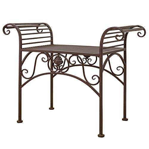 aubaho Gartenbank Eisen Metall Antik-Stil Garten Bank Gartenmöbel braun 70cm
