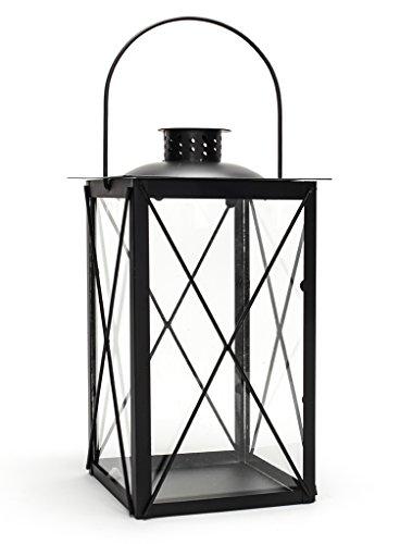 levandeo Laterne aus Metall und Glas - Windlicht Farbe schwarz - Tischlaterne Kerzenhalter...