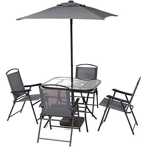 Outsunny Gartenmöbel Set mit Sonnenschirm, Siebenteilige Sitzgruppe, Sitzgarnitur, 1 Tisch + 4...