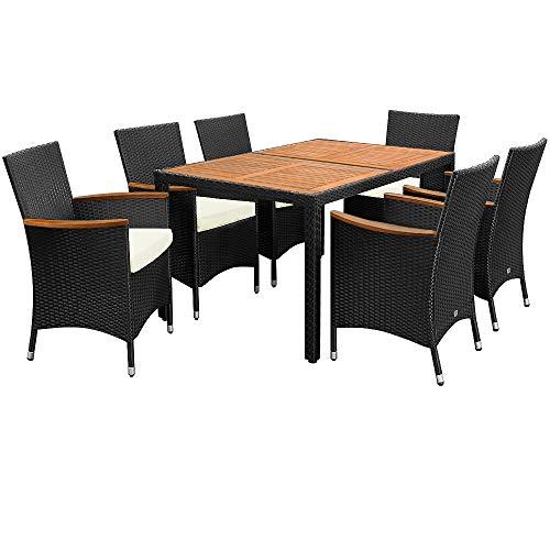 Deuba Poly Rattan Sitzgruppe 6 Stapelbare Stühle 7cm Auflagen Gartentisch 150x90 cm Akazie Holz...