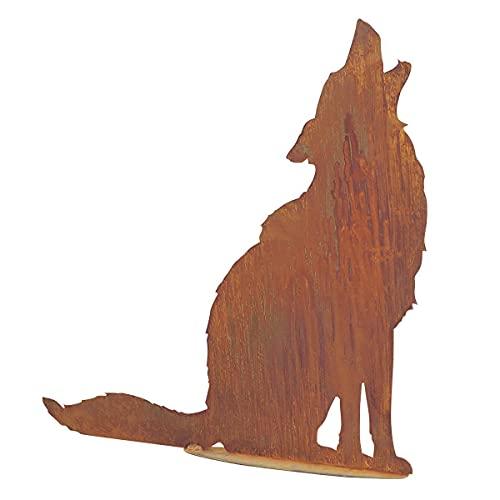 Saremo Rost Heulender Wolf auf Platte, H ca. 73 cm   SA-WolfP   4260353198410