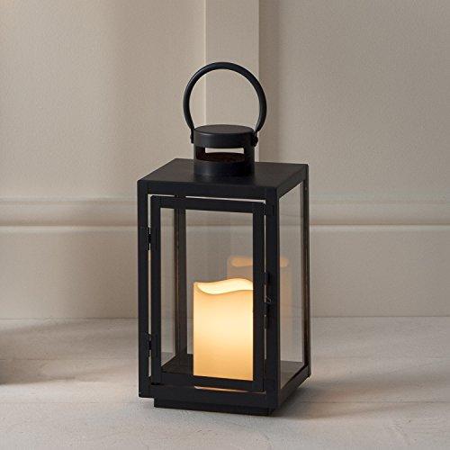 Dunkelgraue Metall Laterne mit warmweißer LED Kerze Batterie Timer verzinkt 30cm Lights4fun