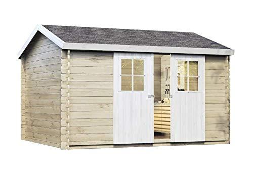 Alpholz Gartenhaus Dinant 28 aus Massiv-Holz | Gerätehaus mit 28 mm Wandstärke | Garten Holzhaus...