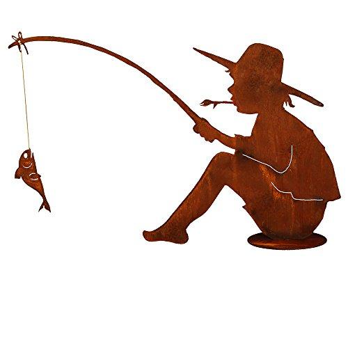 Saremo Rost Angler Manni mit Angel und Fisch auf Platte ca. 60 cm H