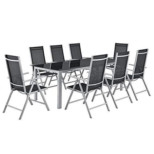 ArtLife Aluminium Gartengarnitur Milano | Gartenmöbel Set mit Tisch & 8 Stühlen | Silber-grau mit...