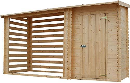 TIMBELA Holzhaus Gartenhaus mit Brennholzregal M205 - Gartenschuppen Holz B344xL146xH199 cm/ 3.64 m2...
