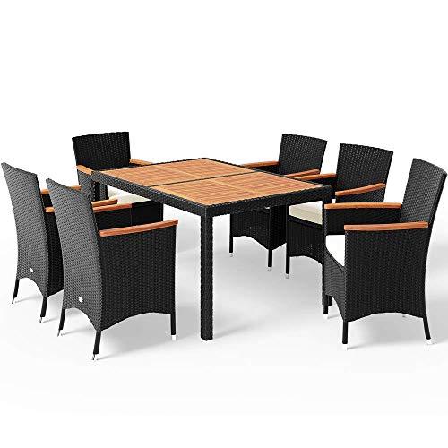 Casaria Poly Rattan Sitzgruppe Schwarz 7cm Dicke Auflagen 6 Stapelbare Stühle Tisch und Armlehnen...