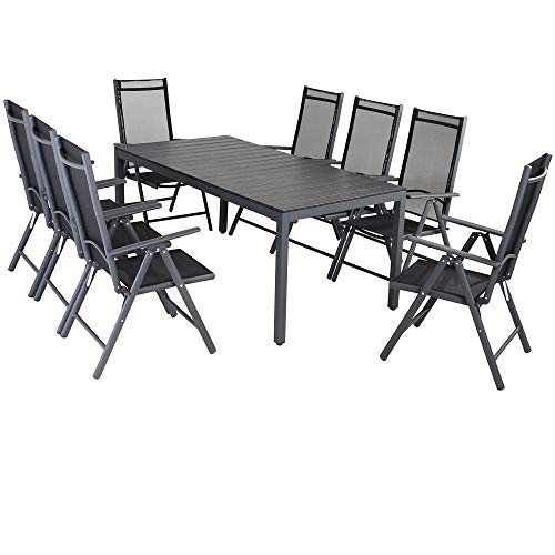 Casaria Aluminium Sitzgruppe 8 Klappstühle Hochlehner WPC Gartentisch 180x90 cm Sitzgarnitur Alu...