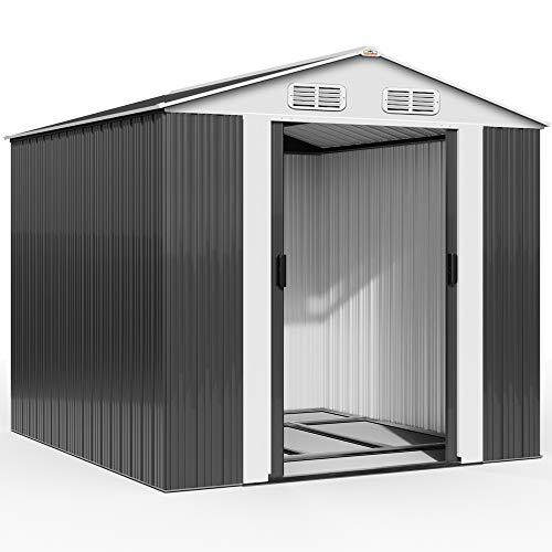 Deuba XXXL Metall Gerätehaus 8m² mit Fundament 312x257x177,5cm Schiebetür Anthrazit...